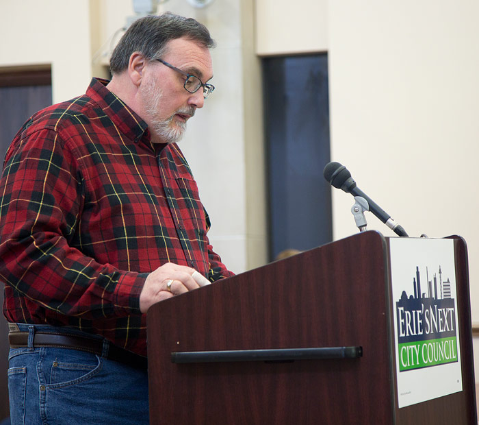 Erie City Council Candidate John Reitinger. Photo by Maitham Basha-Agha.