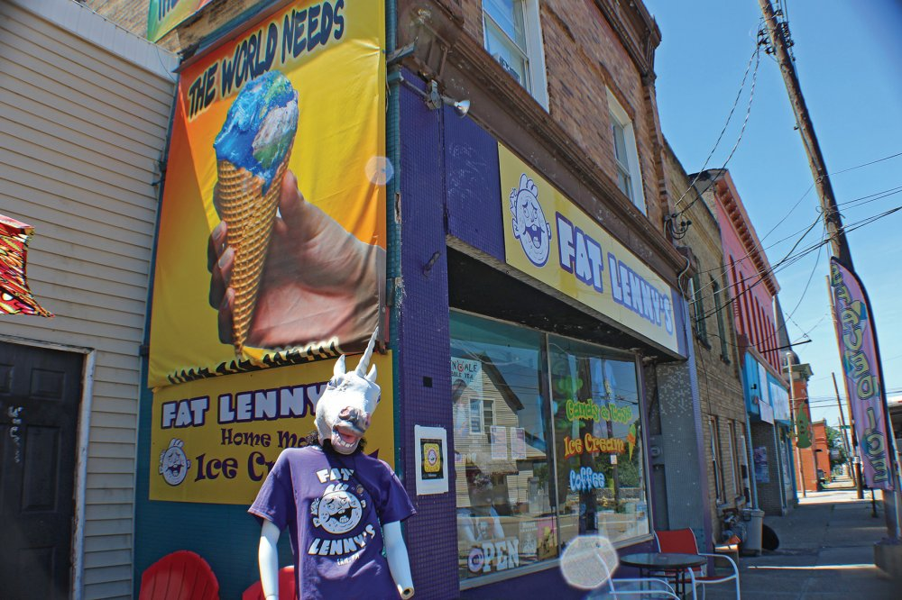 "<p>The unicorn mannequin is the unofficial mascot of Fat Lenny's Ice Cream Shop, purveyor of unique ""rolled"" frozen treats. </p>"