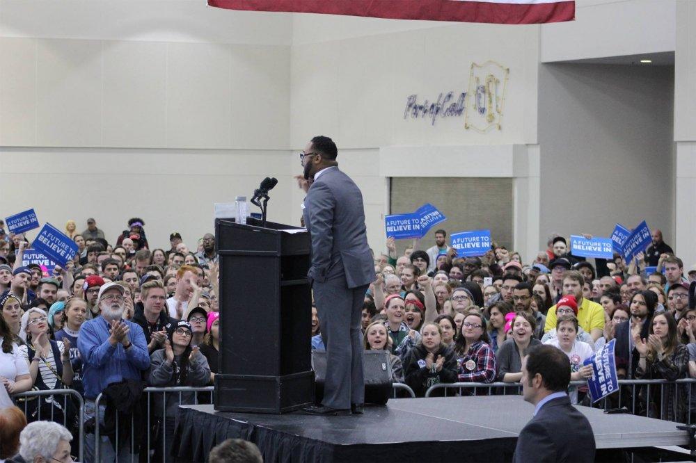 <p>Erie City Councilman Curtis Jones Jr. at the Bernie Sanders Rally April 18, 2016</p>