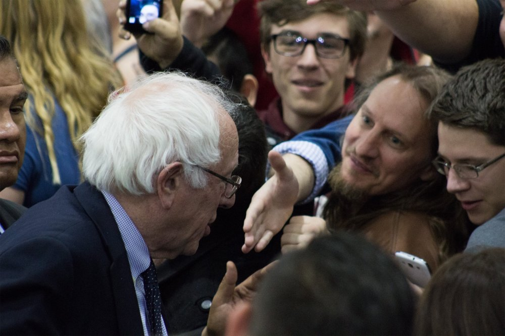<p>Kevin Pastewka (second from right) at the Bernie Sanders Rally April 18, 2016</p>