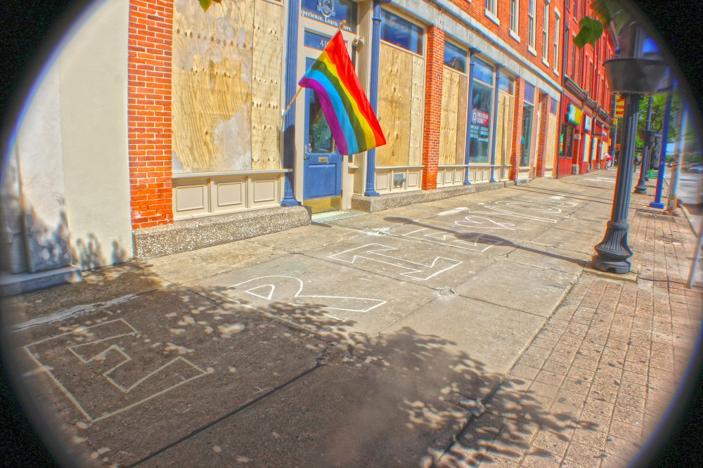 <p>Messages along State Street. Photo by Nick Warren.</p>