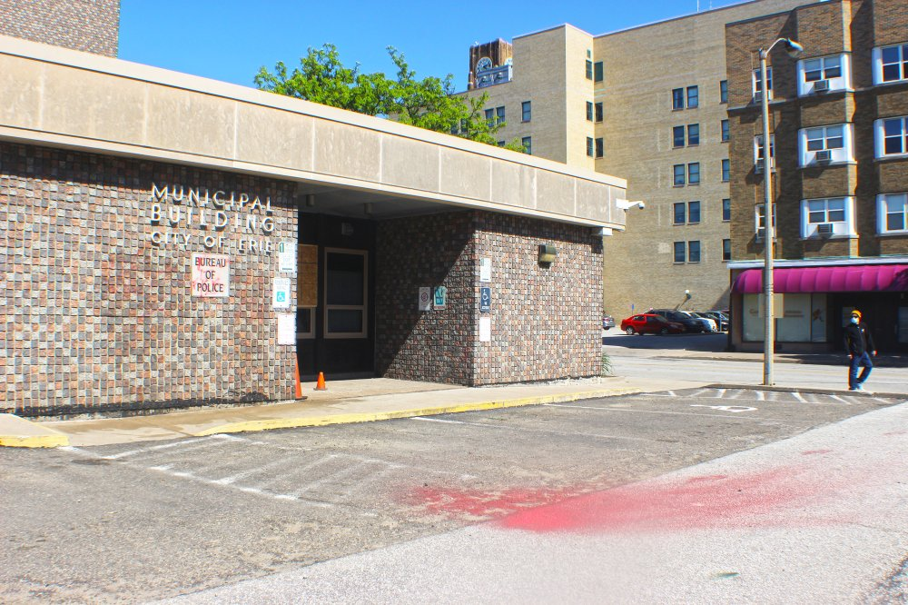 <p>The Erie Police Department entrance along Peach Street. Photo by Nick Warren.</p>