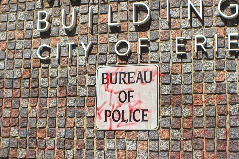 <p>Graphitti at the Erie Pollice Department. Photo by Nick Warren.</p>