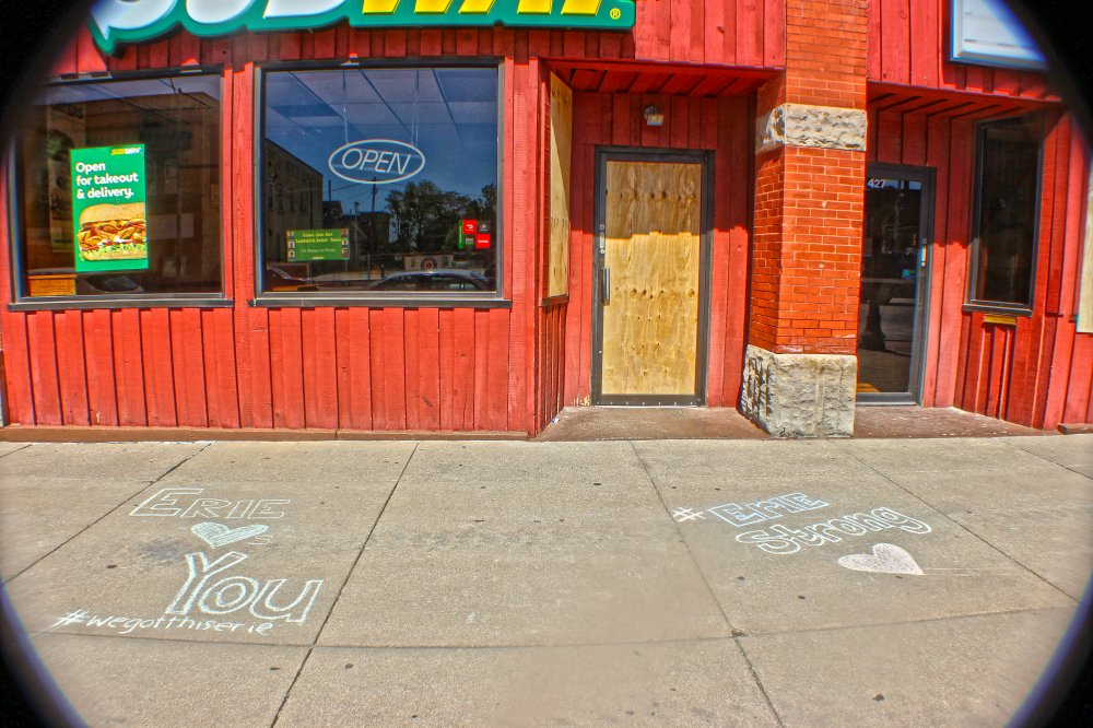 <p>Messages near Subway on State Street. Photo by Nick Warren.</p>