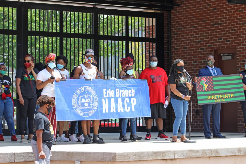 <p>Erie Branch NAACP at Perry Square, Erie, PA June 19, 2020 – Juneteenth Celebration.</p>