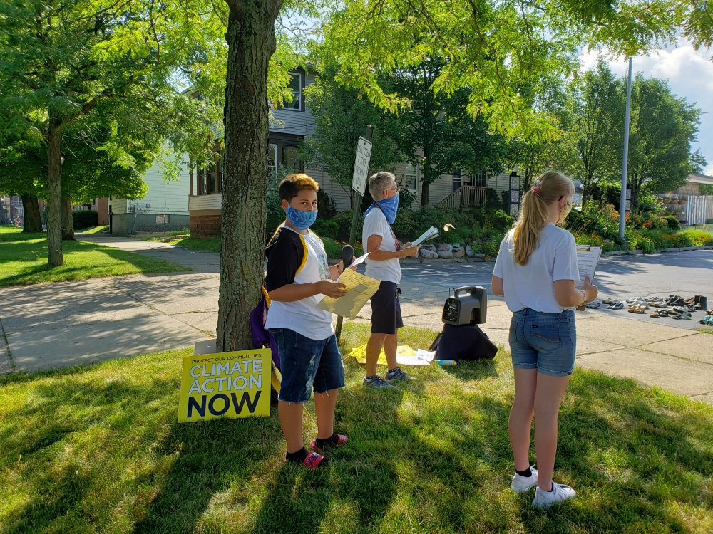 """<p>Youngsters from the Green Team environmental program at Neighborhood Art House participate in a socially distanced climate strike on July 24.<span style=""""white-space: pre;""""> </span></p>"""