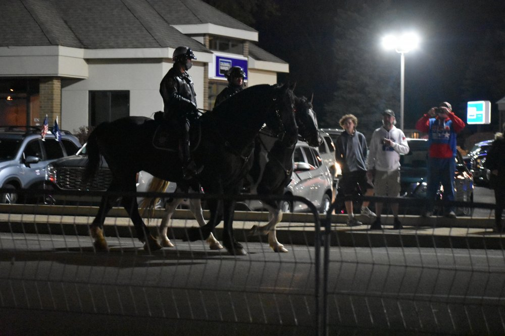 <p>Police Make America Great Again rally in Erie, PA</p>