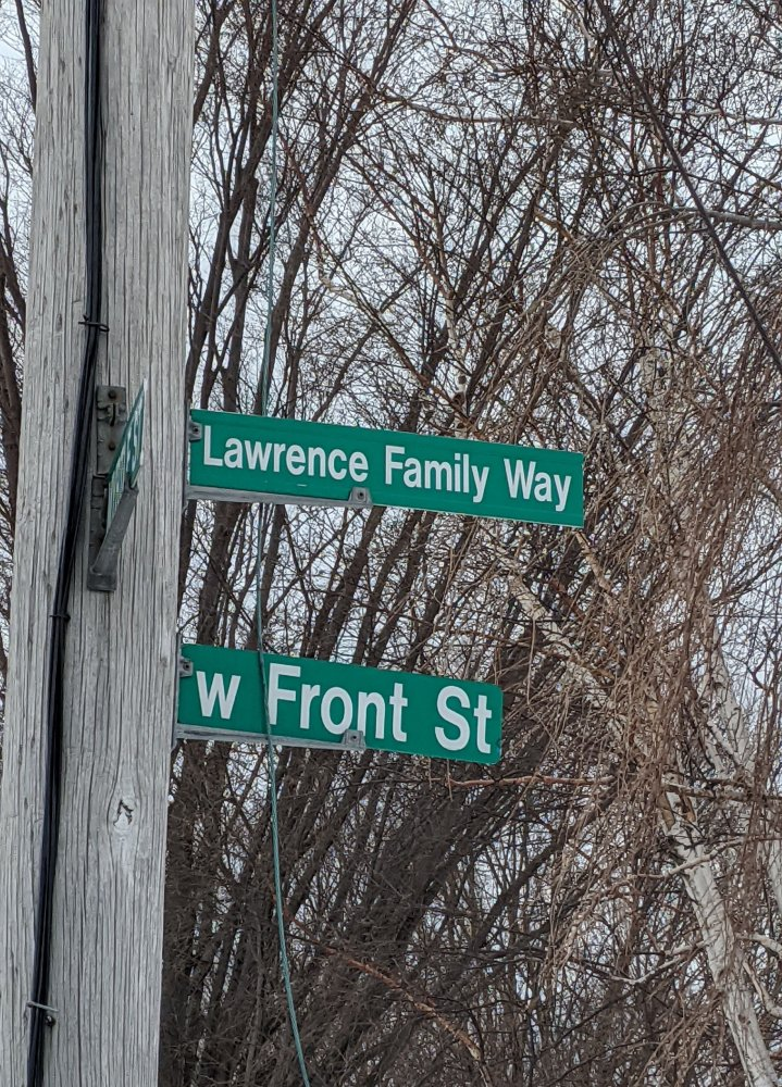 """<p><span style=""""color: #3c4043; font-family: Roboto, Arial, sans-serif; font-size: 16px; letter-spacing: 0.1px; white-space: pre-wrap;"""">Lawrence Family Way is on the corner of Myrtle and W Front Street near the (now demolished) residence of Earl Lawrence (Emma's son) and Ada Lawrence (Emma's Granddaughter) at 221 W Front Street.</span></p>"""