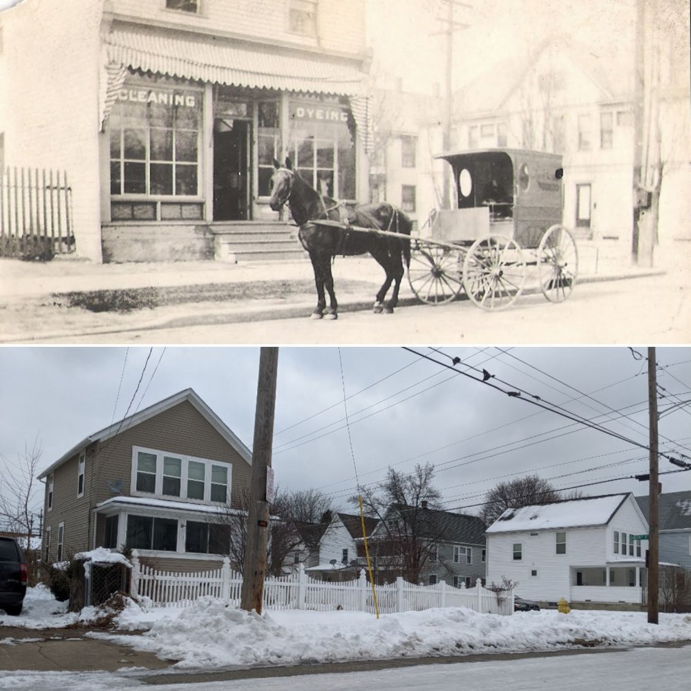 """<p><span style=""""color: #3c4043; font-family: Roboto, Arial, sans-serif; font-size: 16px; letter-spacing: 0.1px; white-space: pre-wrap;"""">A then and now image of the corner where the Lawrence Cleaning and Dyeing business was on the corner of 3rd and Chestnut.</span></p>"""