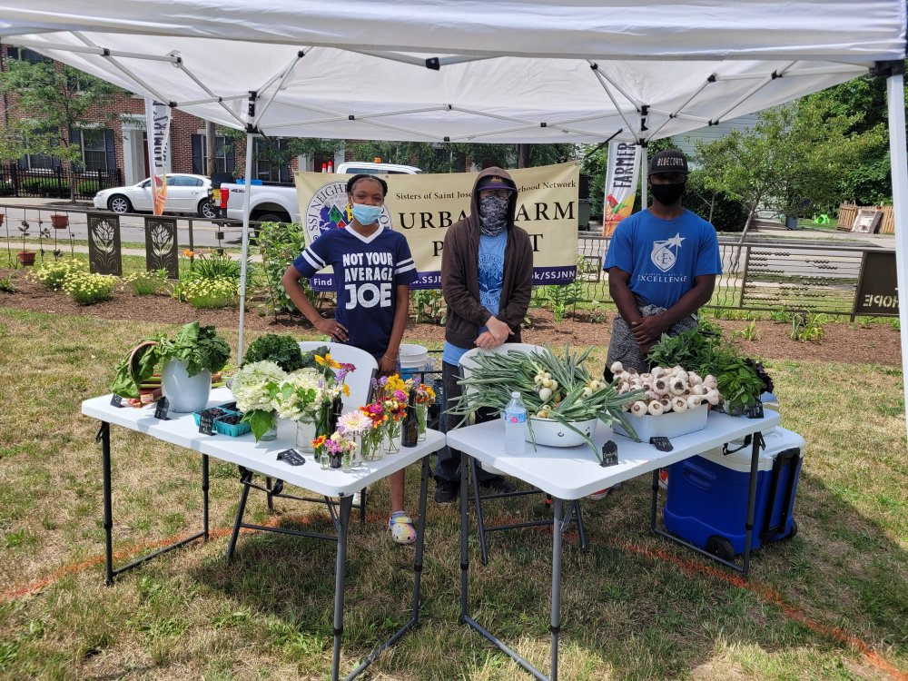 <p>Teens gain from their first job experience by working for the Sisters of St. Joseph Neighborhood Network. Their duties include selling vegetables, fruit and flowers grown at the SSJNN's urban farm at the weekly Little Italy Farmers Market.</p>