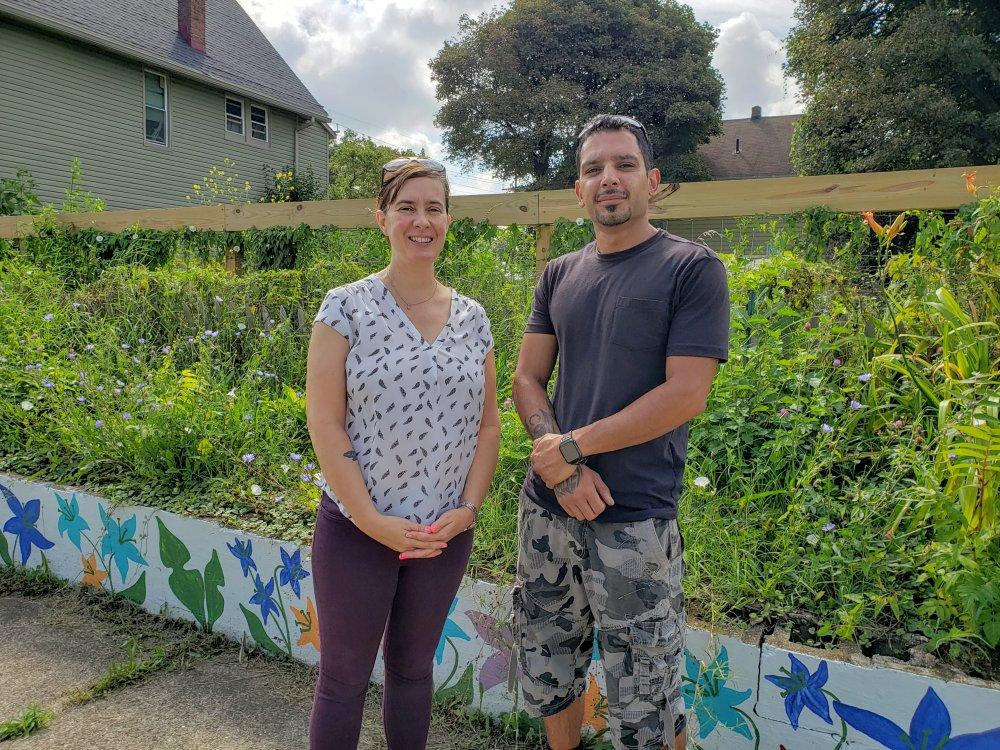 <p>Dylanna Grasinger, executive director of the International Institute, and Hamid Mobin, program coordinator for Flagship Farms, are proud of the role former refugees have played in transforming vacant city lots into productive farms.</p> <p></p>