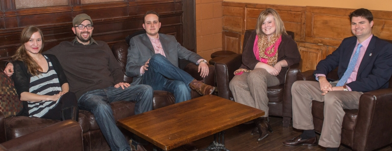 Left to right: Stacey Orr, Zack Orr, Perry Wood, Amanda Sissem, and Cal Pifer. (Photo by Matt Kleck)