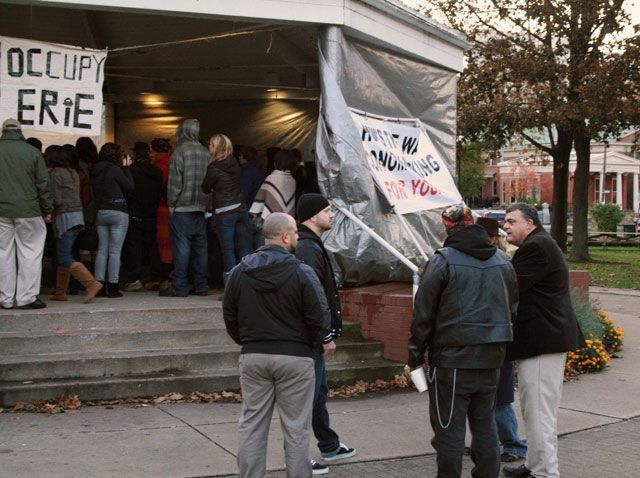 Taking Down the Tarps: Occupy Erie Protesters Asked to Refrain from Sleeping in Gazebo by Jay Stevens